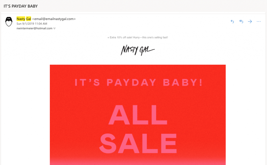 nastygal - email campaign