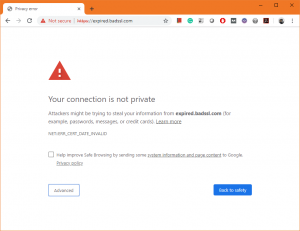 Chrome SSL Expired Warning