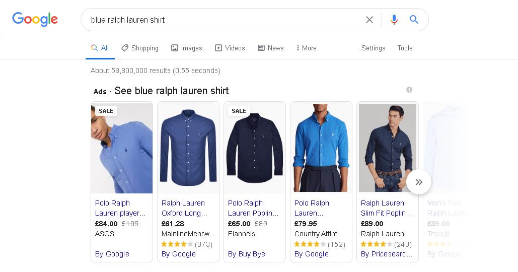 blue-ralph-lauren-shirt-ppc-google-shopping-example