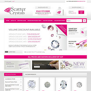 eCommerce website design - scattercrystals